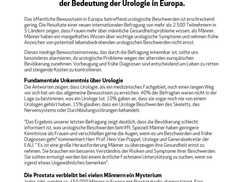 Presseaussendung der EAU (Europäische Gesellschaft für Urologie) vom 24.09.18
